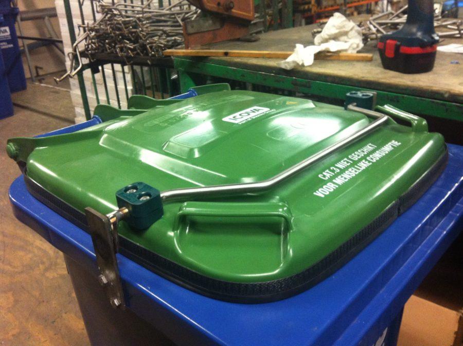 Afvalcontainer met luchtdichte afsluiting